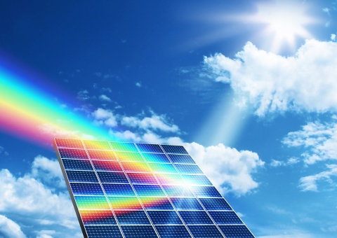 Solar energy panel collector reflecting sunlight spectrum